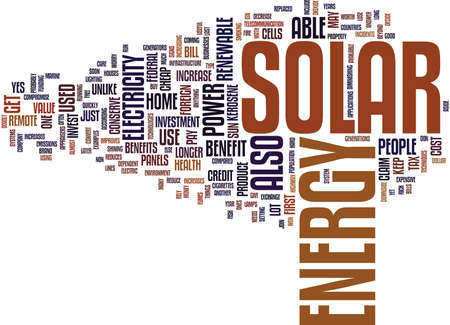 LOS BENEFICIOS DE LA ENERGÍA SOLAR Fondo de texto Palabra Nube Concepto Foto de archivo - 82624945