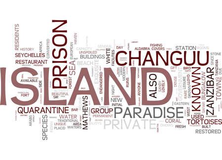 CHANGUU 감옥 섬의 매력 Text Background Word Cloud Concept
