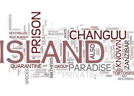 THE CHARM OF CHANGUU PRISON ISLAND Text Background Word Cloud Concept