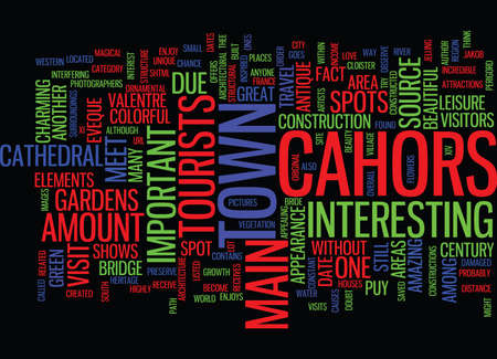 THE COLORFUL CAHORS Text Background Word Cloud Concept