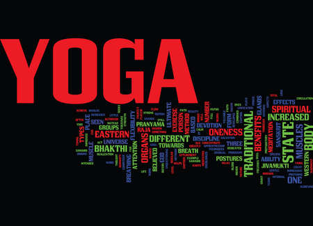 THE BENEFITS AND EFFECTS OF DIFFERENT TYPES OF YOGA Text Background Word Cloud Concept