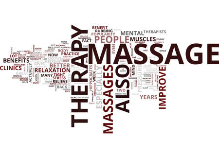 THE BENEFITS OF MASSAGE THERAPY Text Background Word Cloud Concept