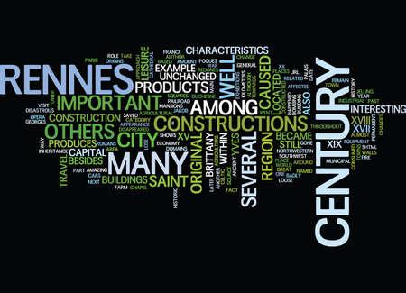 THE CITY OF RENNES Text Background Word Cloud Concept Ilustração