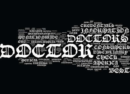 THE CHECK DOCTOR CREDENTIALS THEORY Text Background Word Cloud Concept
