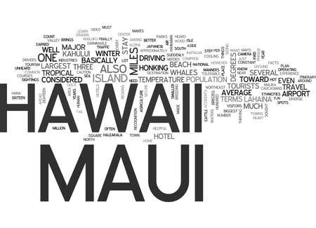 マウイ島ハワイ テキスト背景単語雲概念