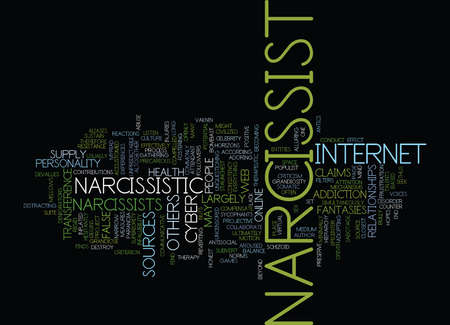 narcissist: THE CYBER NARCISSIST Text Background Word Cloud Concept