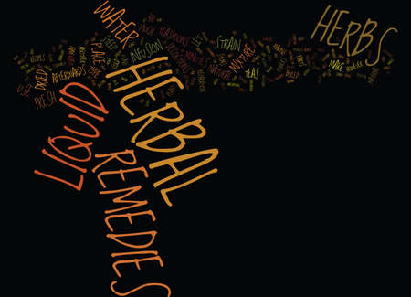 LIQUID HERBAL REMEDIES Text Background Word Cloud Concept