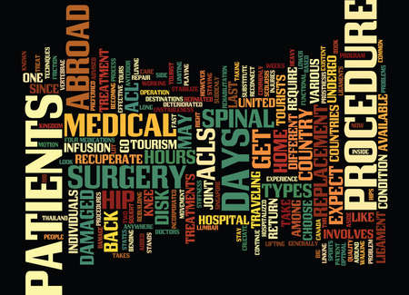 THE DIFFERENT TREATMENTS YOU GET IN MEDICAL TOURISM Text Background Word Cloud Concept Illustration