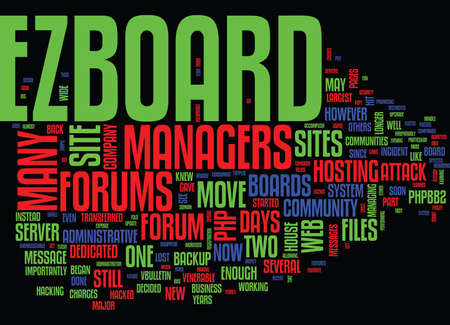 THE DEMISE OF EZBOARD Text Background Word Cloud Concept Ilustração