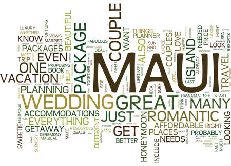 MAUI FOR COUPLES Text Background Word Cloud Concept