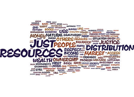 THE DISTRIBUTIVE JUSTICE OF THE MARKET Text Background Word Cloud Concept