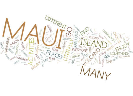 MAUI FUN FOR EVERYONE Text Background Word Cloud Concept