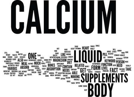 LIQUID CALCIUM Text Background Word Cloud Concept