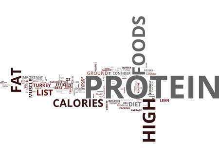 LIST OF HIGH PROTEIN FOODS Text Background Word Cloud Concept