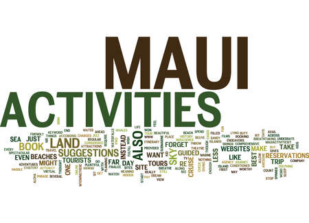 MAUI ACTIVITIES Text Background Word Cloud Concept Illustration