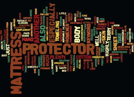 PROTECTOR DE MATELAS Fondo de texto Word Cloud Concepto Foto de archivo - 82681102