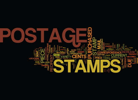 THE CURRENT FACTS ON POSTAGE STAMPS Text Background Word Cloud Concept
