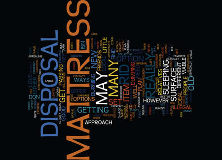 attest: MATTRESS DISPOSAL Text Background Word Cloud Concept