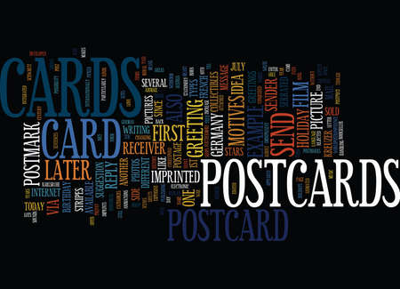 THE DEVELOPMENT OF POSTCARDS Text Background Word Cloud Concept