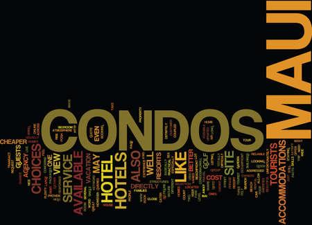 MAUI CONDOS Text Background Word Cloud Concept
