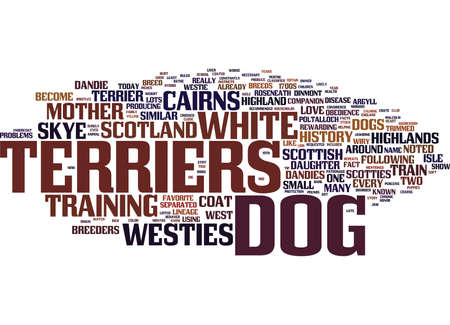 THE DOG OF THE HIGHLANDS WEST HIGHLAND WHITE TERRIER Text Background Word Cloud Concept