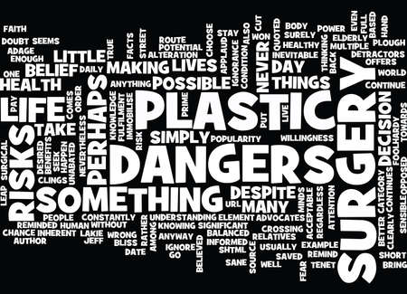THE DANGERS OF PLASTIC SURGERY Text Background Word Cloud Concept 向量圖像
