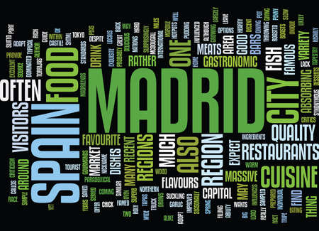 THE CUISINE OF MADRID A GUIDE Text Background Word Cloud Concept