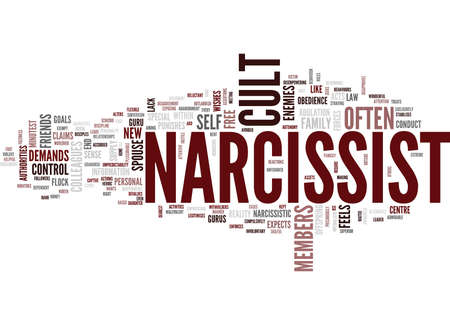 THE CULT OF THE NARCISSIST Text Background Word Cloud Concept