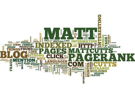 MATT CUTTS SAYS Text Background Word Cloud Concept