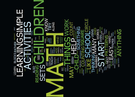 MATH ACTIVITIES FOR CHILDREN Text Background Word Cloud Concept Illustration