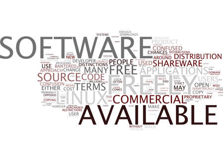 LINUX FREELY AVAILABLE LINUX FREE CONFUSED ENOUGH Text Background Word Cloud Concept