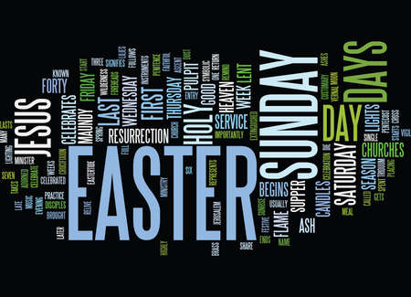 THE DAYS OF EASTER Text Background Word Cloud Concept