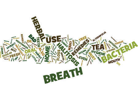 THE DIFFERENT BAD BREATH HERBAL REMEDY Text Background Word Cloud Concept