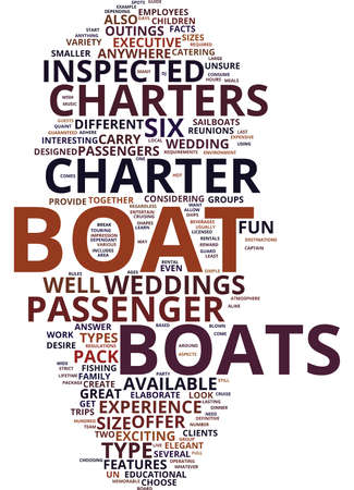 THE DEFINITIVE GUIDE TO BOAT CHARTERS AND RENTALS Text Background Word Cloud Concept