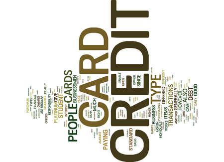 신용 카드의 다른 종류 텍스트 배경 단어 구름 개념