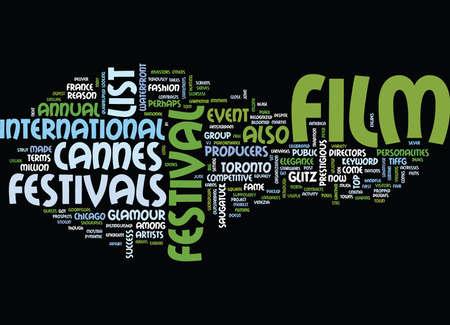 LIST OF FILM FESTIVALS Text Background Word Cloud Concept Çizim