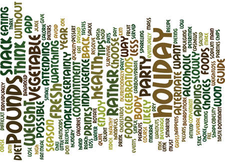 THE DIETERS SURVIVAL GUIDE FOR HOLIDAY PARTIES Text Background Word Cloud Concept