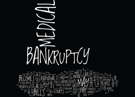 THE DIFFICULTY IN MEDICAL BANKRUPTCY Text Background Word Cloud Concept