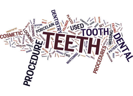 THE DIFFERENT COSMETIC DENTISTRY PROCEDURES Text Background Word Cloud Concept