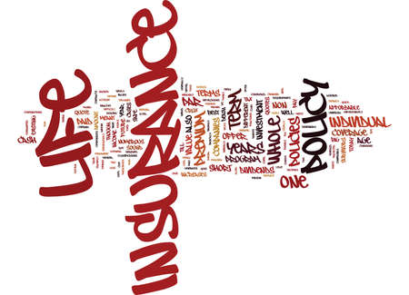THE DIFFERENT TYPES OF LIFE INSURANCE EXPLAINED Text Background Word Cloud Concept