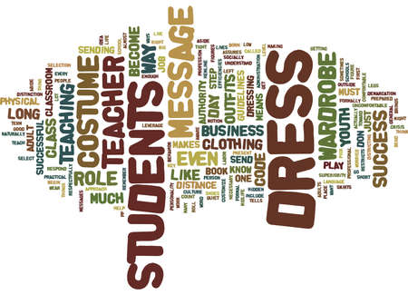 THE COSTUME OF A TEACHER Text Background Word Cloud Concept Illustration