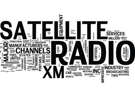 THE DEVELOPMENT OF SATELLITE RADIO IN THE UNITED STATES Text Background Word Cloud Concept