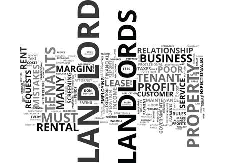 THE COSTLIEST LANDLORD MISTAKES Text Background Word Cloud Concept Illustration