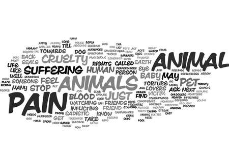 THE CRUEL FOOL GODS PAYBACK ANIMAL CRUELTY Text Background Word Cloud Concept Çizim