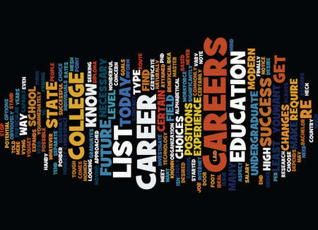 LIST OF CAREERS Text Background Word Cloud Concept Çizim