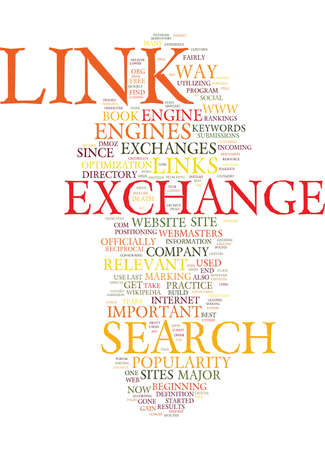 fairly: THE DEATH OF THE LINK EXCHANGE Text Background Word Cloud Concept