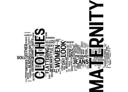 MATERNITY CLOTHES TRENDS Text Background Word Cloud Concept