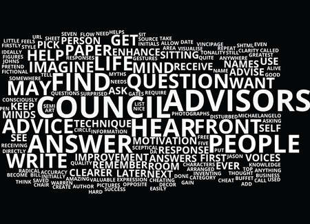 THE COUNCIL OF ADVISORS Text Background Word Cloud Concept Ilustração