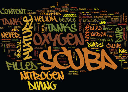 THE DIFFERENT CONTENTS OF SCUBA TANKS Text Background Word Cloud Concept Çizim