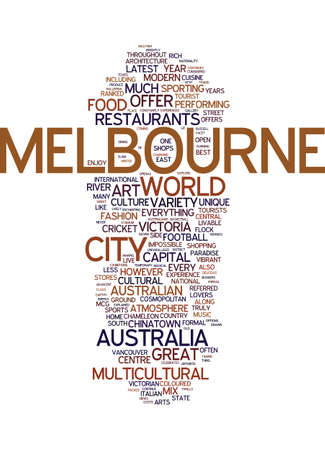 MELBOURNE THE COSMOPOLITAN CAPITAL OF AUSTRALIA Text Background Word Cloud Concept Çizim